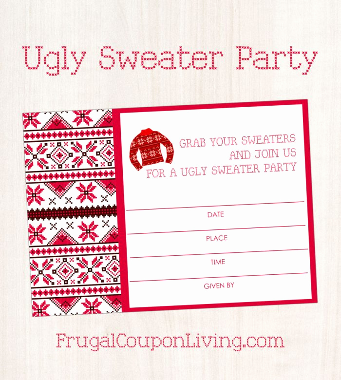 Ugly Christmas Sweater Invitation Template Awesome Free Ugly Sweater Party Invite Printable