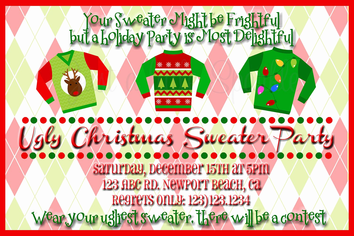 Ugly Christmas Sweater Invitation Template Awesome Ugly Christmas Sweater Party Flyer Invitation Templates