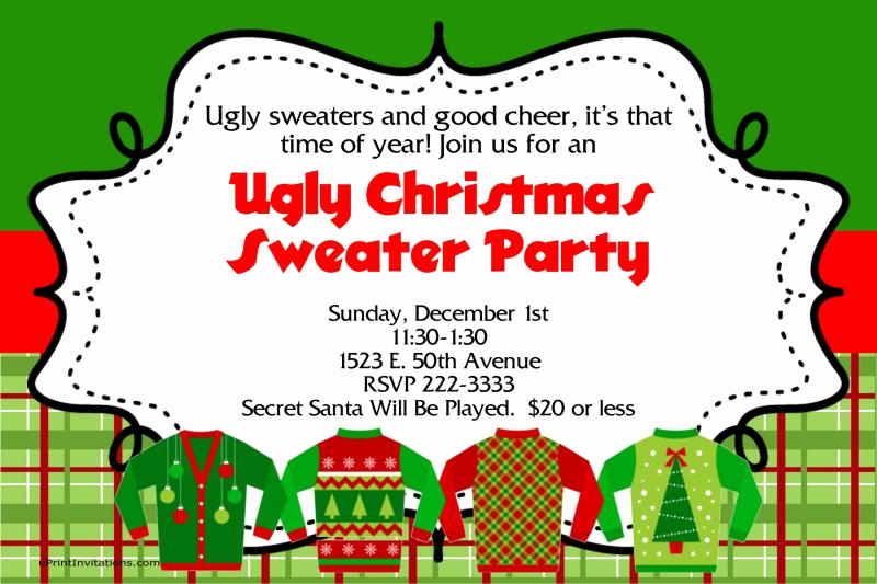 Ugly Christmas Sweater Invitation Template Beautiful A Ugly Sweater Christmas Party by Uprintinvitations On Zibbet