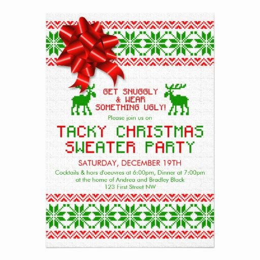 Ugly Christmas Sweater Invitation Template Beautiful Tacky Ugly Christmas Sweater Party Invitation
