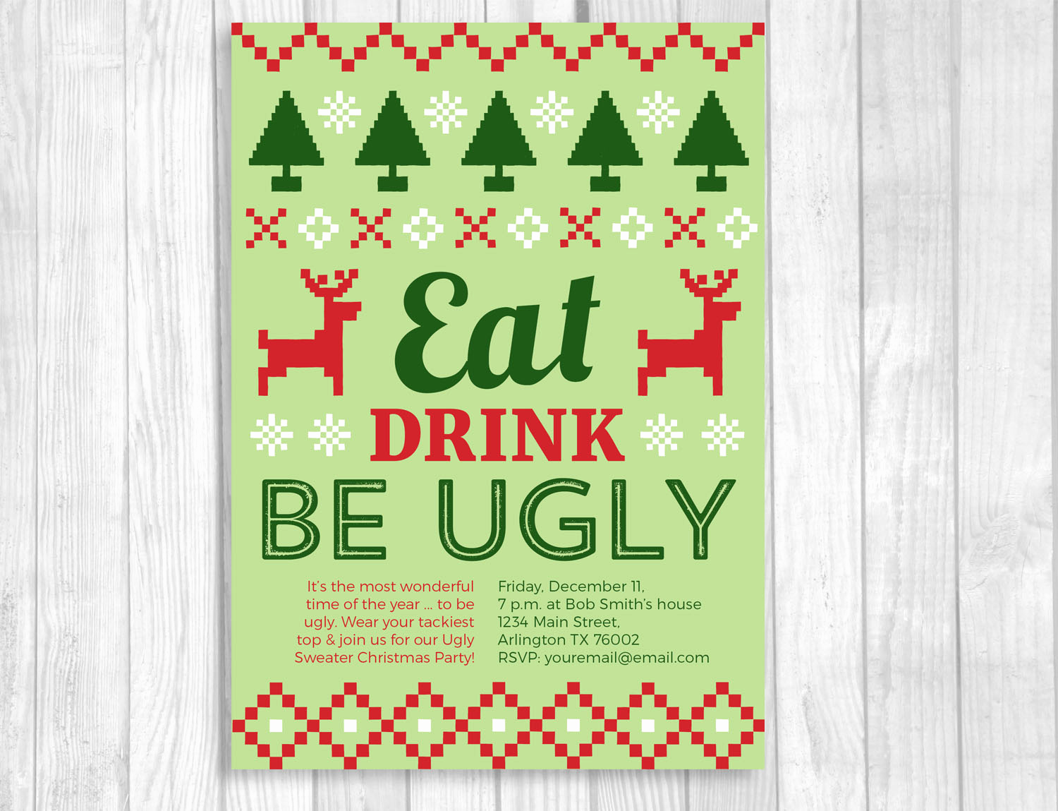 Ugly Christmas Sweater Invitation Template Beautiful Weddings by Susan Ugly Christmas Sweater Party Printable