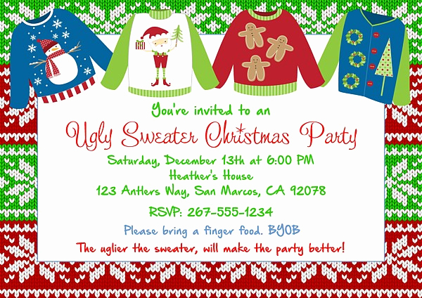 Ugly Christmas Sweater Invitation Template Elegant Christmas Party Invitations Ugly Sweater