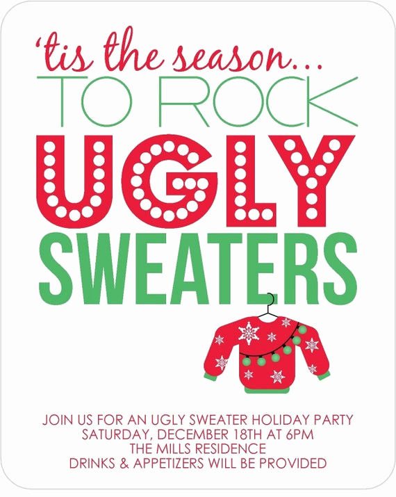 Ugly Christmas Sweater Invitation Template Elegant Items Similar to Ugly Sweater Party Invitations Set Of