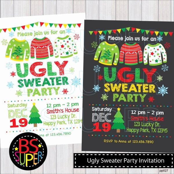 Ugly Christmas Sweater Invitation Template Luxury Ugly Christmas Sweater Invitations Christmas Invitations