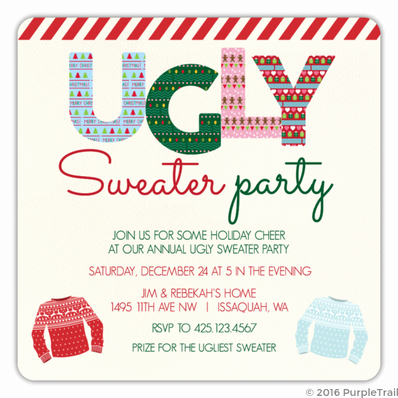 Ugly Christmas Sweater Invitation Template Luxury Ugly Pattern Striped Tape Ugly Sweater Party Invitation