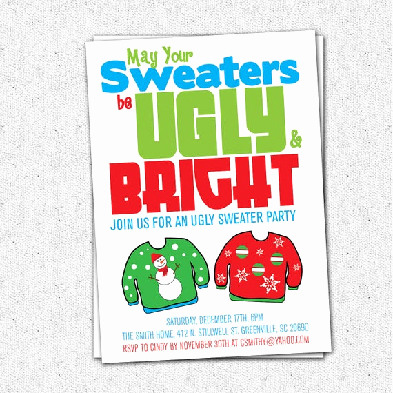 Ugly Christmas Sweater Invitation Template Unique Ugly Sweater Party Invitation Tacky Holiday Christmas
