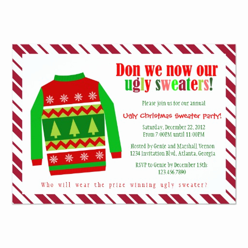 Ugly Christmas Sweater Invitation Unique Ugly Christmas Sweater Christmas Party Invitation