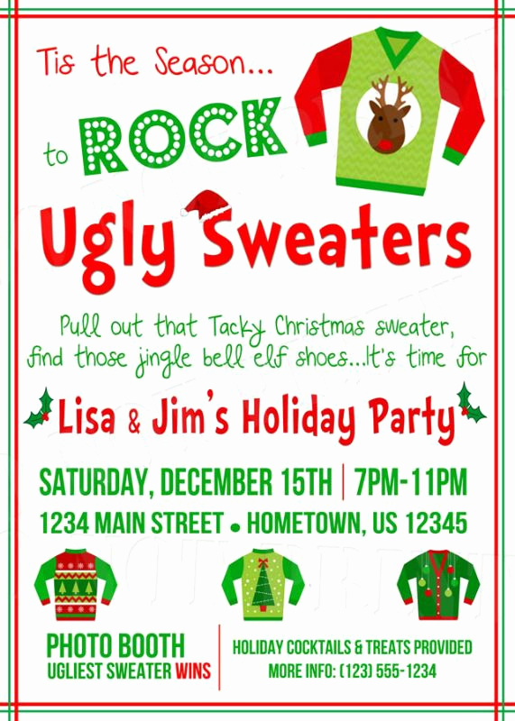 Ugly Christmas Sweater Party Invitation Awesome 30 Best Images About Tacky Holiday Sweaters On Pinterest