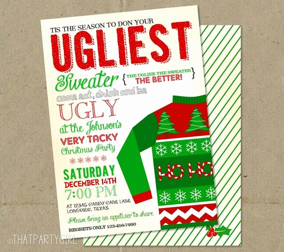 Ugly Christmas Sweater Party Invitation Awesome Ugly Sweater Invitations Christmas Party Diy
