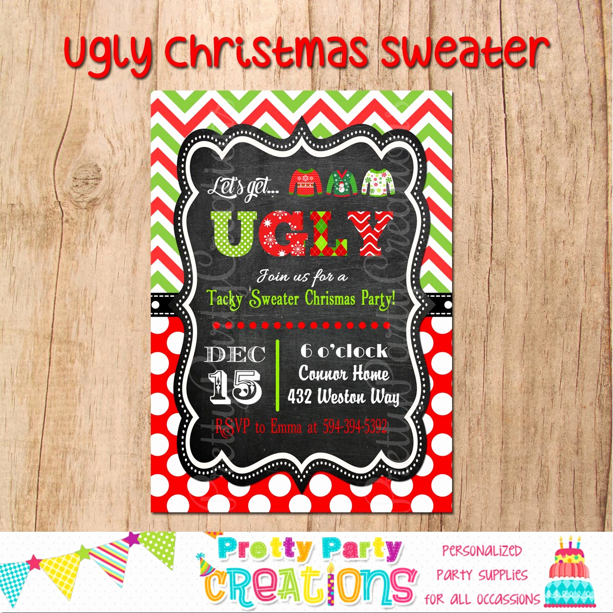 Ugly Christmas Sweater Party Invitation Beautiful Ugly Christmas Sweater Invitation You Print