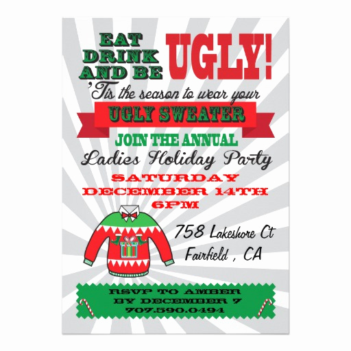 Ugly Christmas Sweater Party Invitation Beautiful Ugly Sweater Christmas Party Invitations