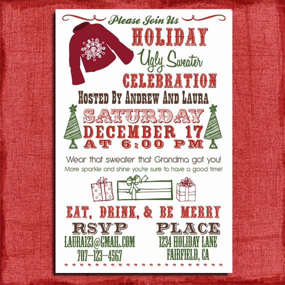 Ugly Christmas Sweater Party Invitation Elegant Holiday Christmas Ugly Sweater Party Invitation 4x6