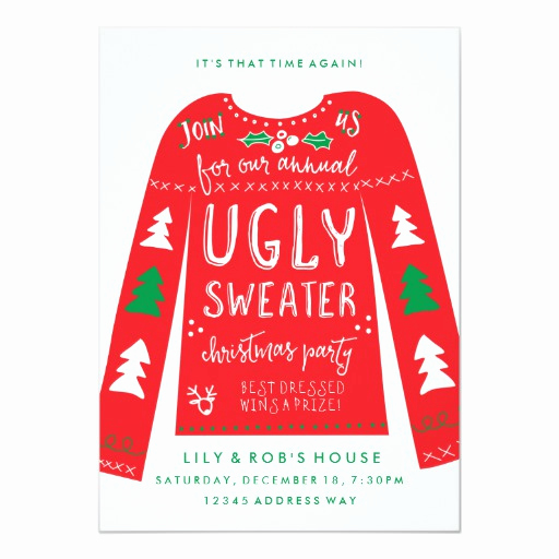 Ugly Christmas Sweater Party Invitation Fresh Festive Ugly Sweater Christmas Party Invitations