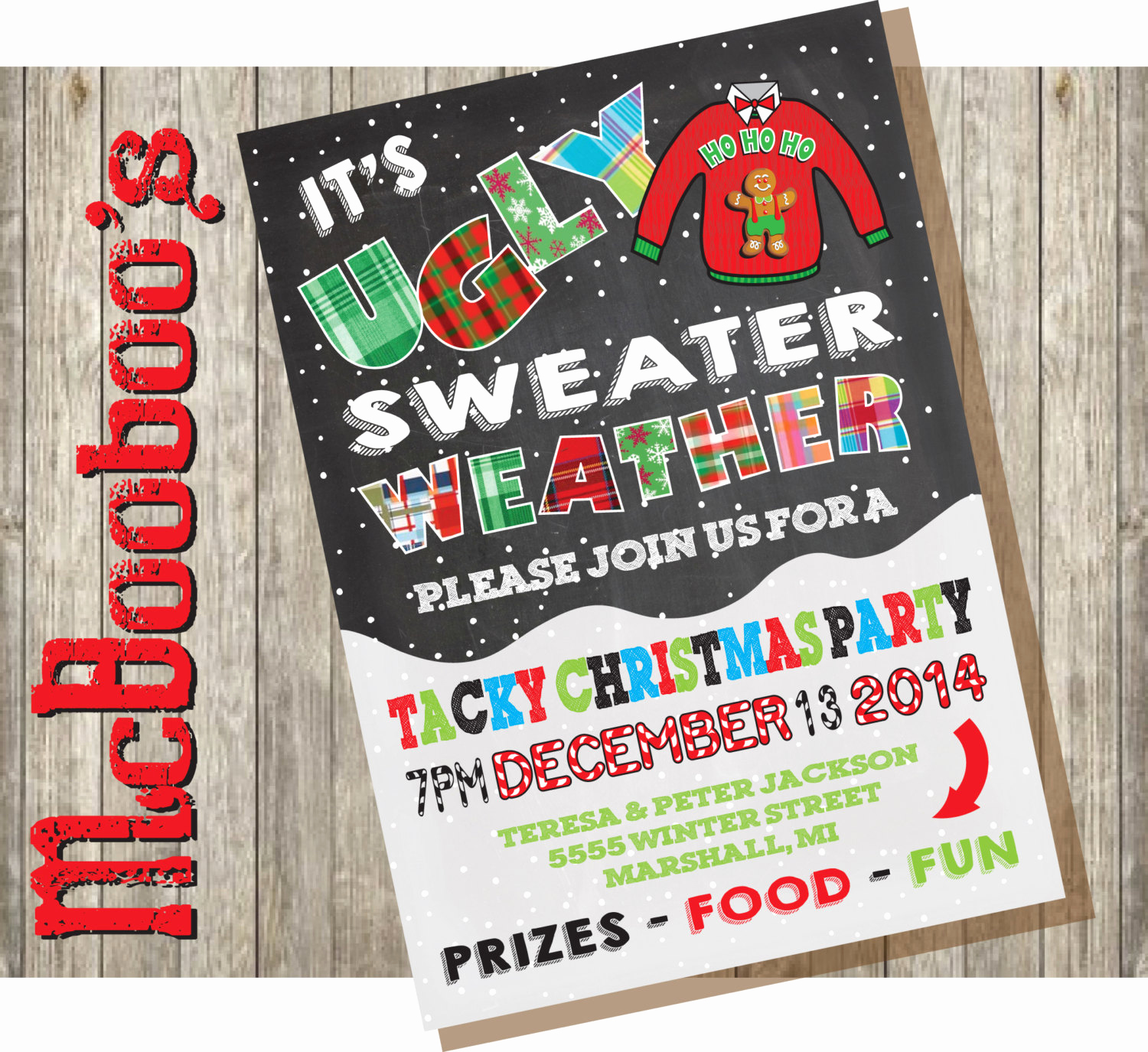 Ugly Christmas Sweater Party Invitation Fresh Ugly Tacky Christmas Sweater Party Invitations On A Snowy