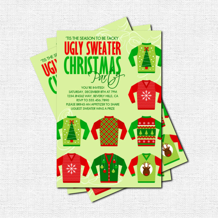 Ugly Christmas Sweater Party Invitation Inspirational Ugly Sweater Christmas Party Invitation Print Your by