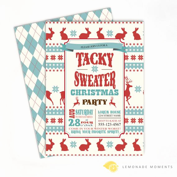 Ugly Christmas Sweater Party Invitation Lovely Ugly Sweater Invitation Tacky Sweater Christmas Party