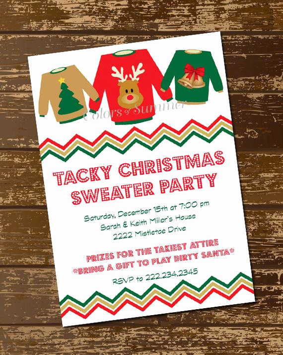 Ugly Christmas Sweater Party Invitation Luxury Tacky Christmas Sweater Invitation Tacky Christmas Party