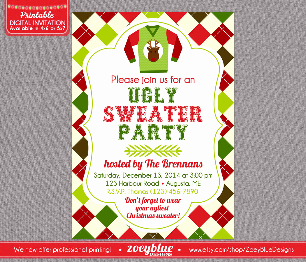 Ugly Christmas Sweater Party Invitation New Ugly Sweater Christmas Invitation Ugly Party by