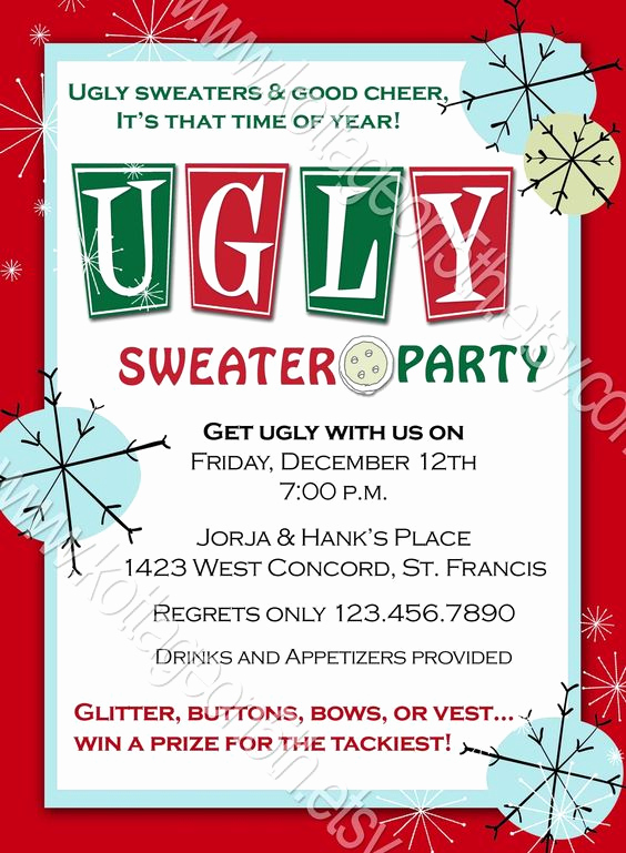 Ugly Christmas Sweater Party Invitation New Ugly Sweater Party Christmas or New Year S Invitation