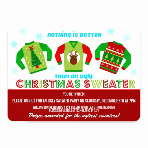 Ugly Sweater Christmas Party Invitation Awesome Festive Ugly Christmas Sweaters Party Invitation