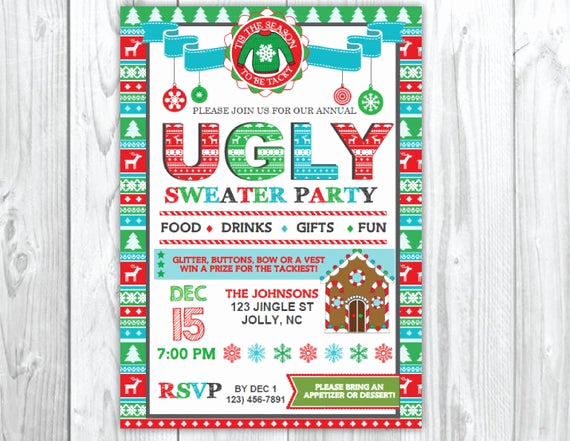 Ugly Sweater Christmas Party Invitation Beautiful Ugly Sweater Christmas Party Invitation Tacky Christmas