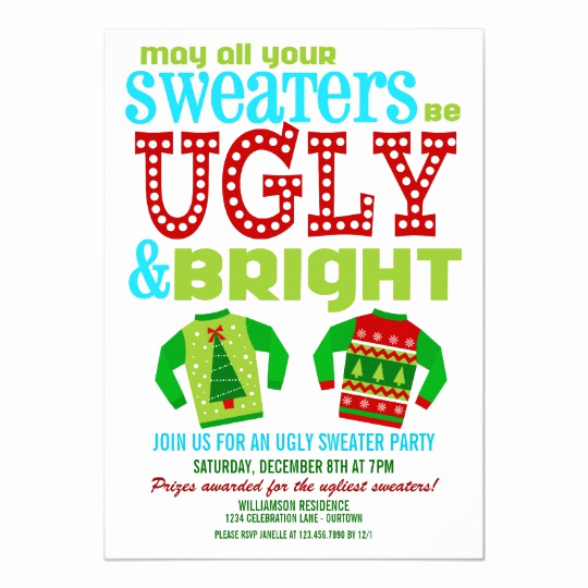 Ugly Sweater Christmas Party Invitation Elegant Ugly N Bright Christmas Sweater Party Invitation