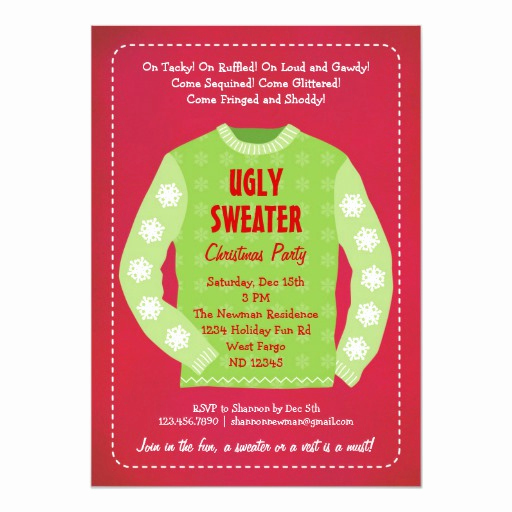 Ugly Sweater Christmas Party Invitation Elegant Ugly Sweater Holiday Party Invitation