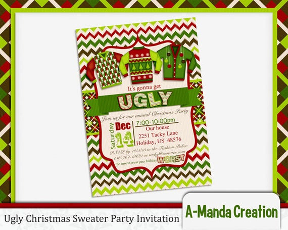 Ugly Sweater Christmas Party Invitation Fresh A Manda Creation Ugly Christmas Sweater Printables