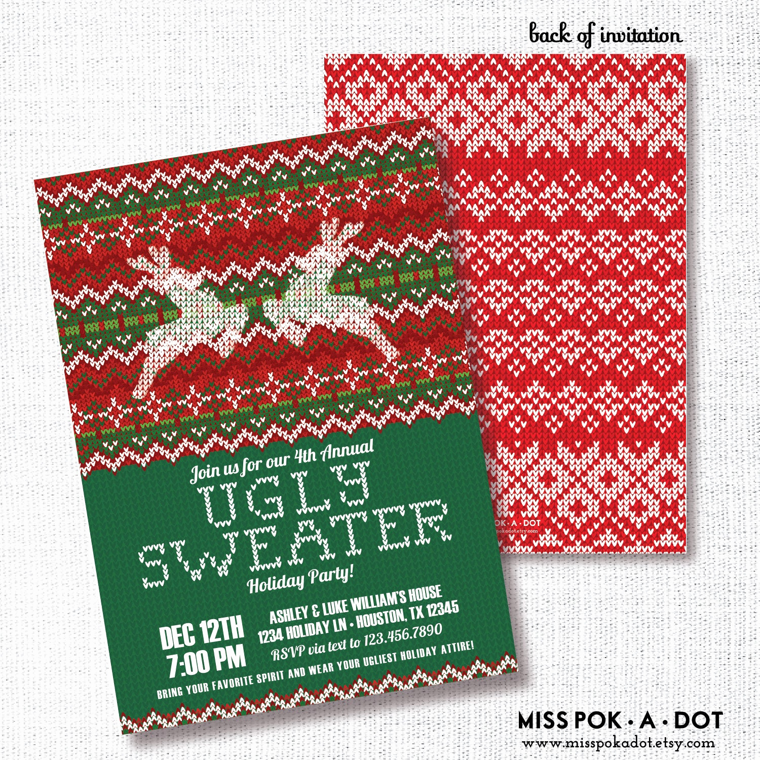 Ugly Sweater Christmas Party Invitation Inspirational Ugly Sweater Holiday Party Invitation Printable Tacky