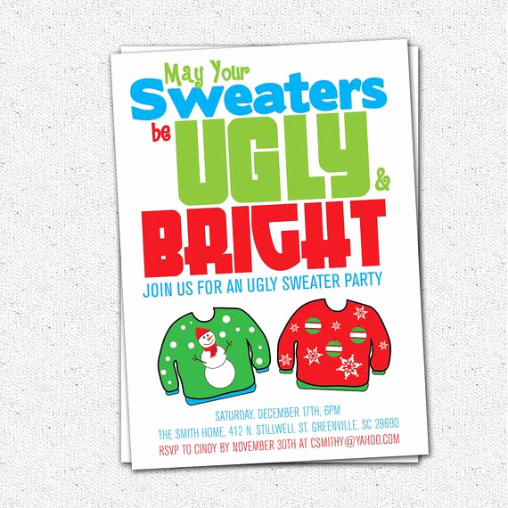 Ugly Sweater Christmas Party Invitation Lovely Ugly Sweater Party Invitation Tacky Holiday Christmas