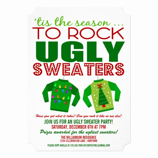 Ugly Sweater Christmas Party Invitation Unique Festive Ugly Christmas Sweaters Party Invitation