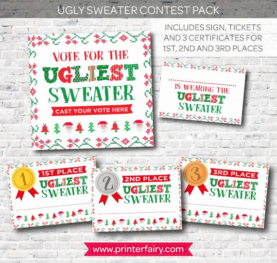 Ugly Sweater Contest Invitation Awesome Ugly Sweater Contest Printables Holiday Party Christmas