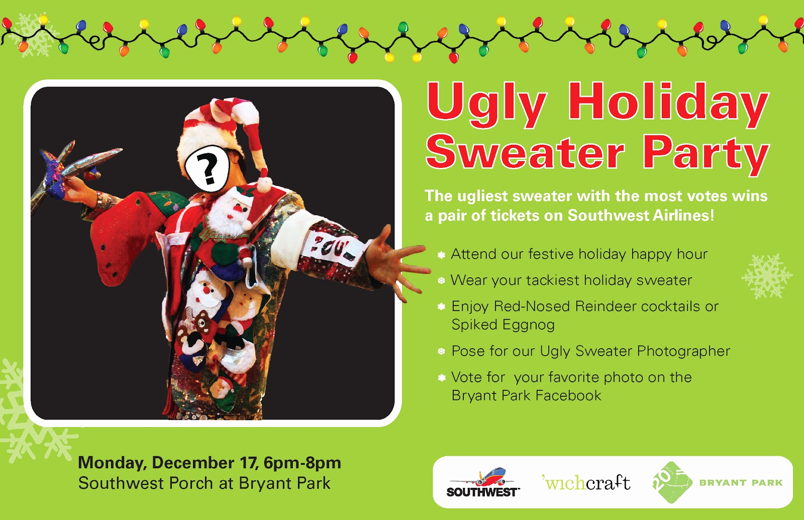 Ugly Sweater Contest Invitation Beautiful Bryant Park Blog the Ugly Holiday Sweater Party