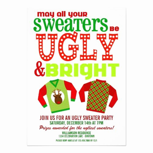 Ugly Sweater Contest Invitation Inspirational Ugly Christmas Sweater Party Invitations