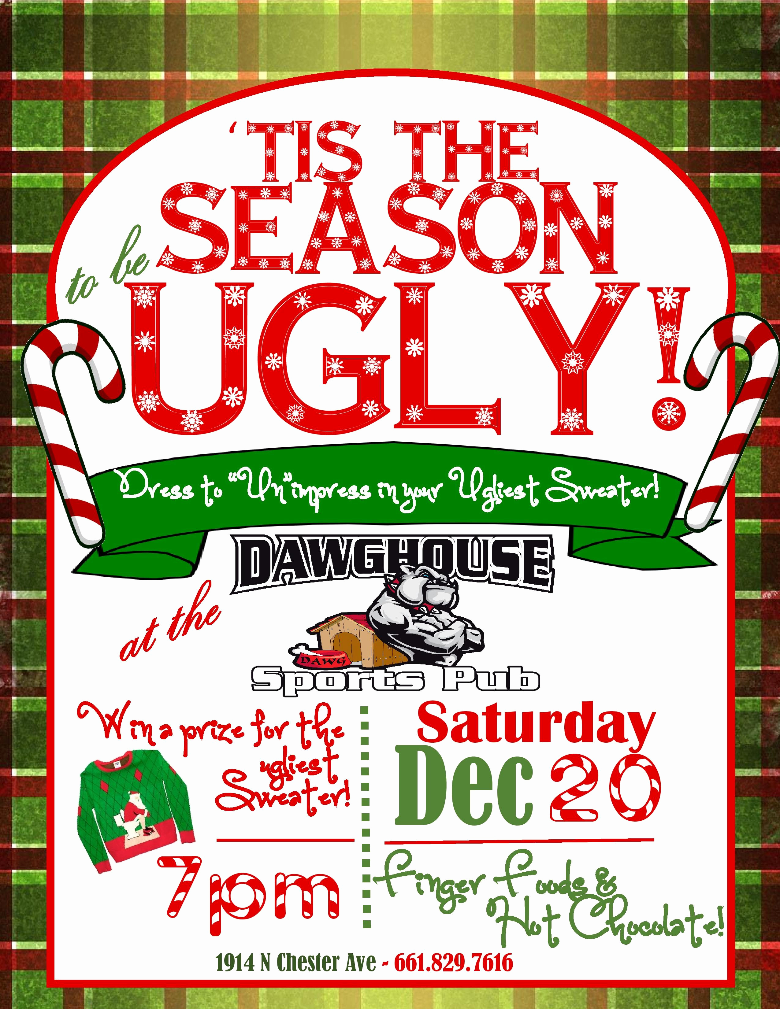 Ugly Sweater Contest Invitation Unique Christmas Invitation Bar Flyer Ugly Sweater