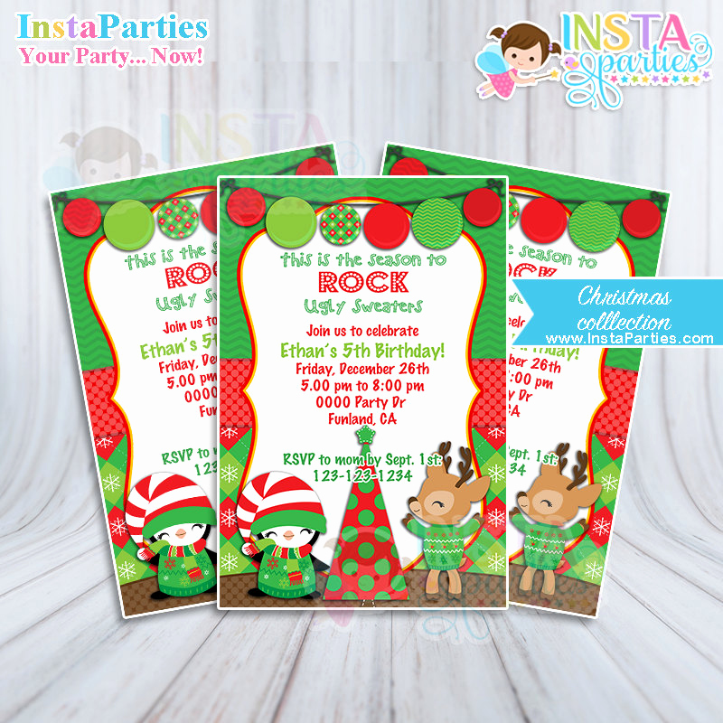 Ugly Sweater Contest Invitation Unique Christmas Party Invitations Ugly Sweater Boy Girl Xmas