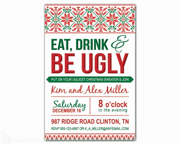 Ugly Sweater Invitation Ideas Beautiful Ugly Sweater Invitation Printable Diy by Charmingprintables