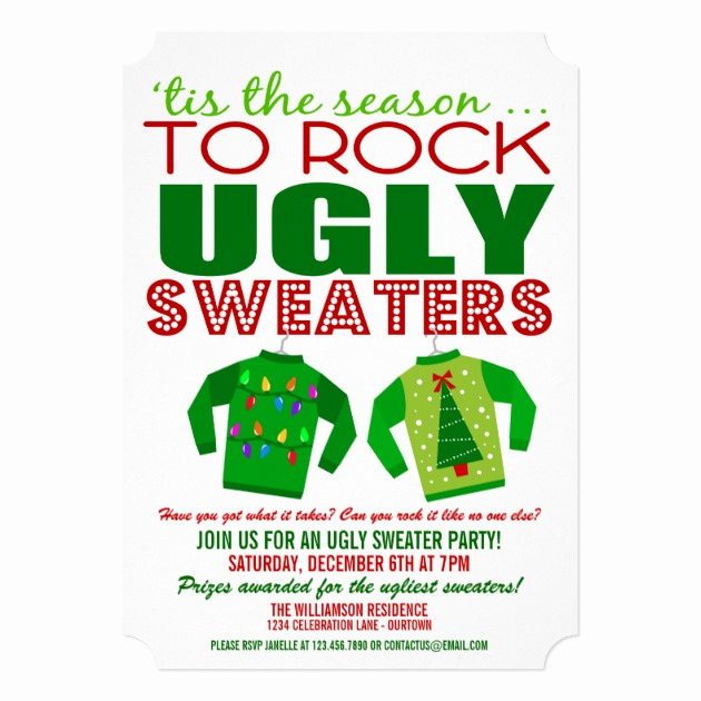 Ugly Sweater Invitation Ideas Elegant Festive Ugly Christmas Sweaters Party Invitation