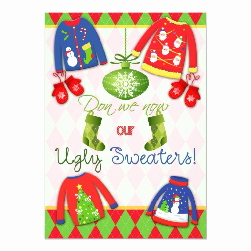 "Ugly Sweater Invitation Ideas Fresh Festive Ugly Christmas Sweater Party Invitation 5"" X 7"