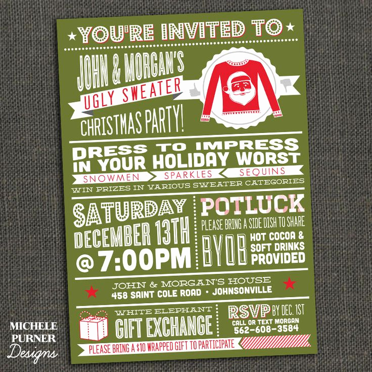 Ugly Sweater Invitation Ideas Inspirational Ugly Sweater Christmas Party Invitation by