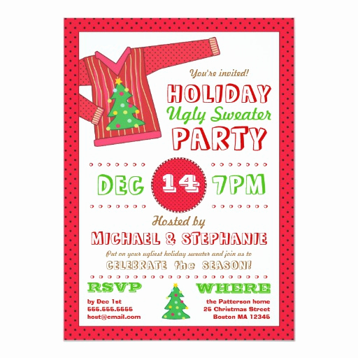 Ugly Sweater Invitation Ideas Lovely Holiday Ugly Sweater Christmas Party Invitation