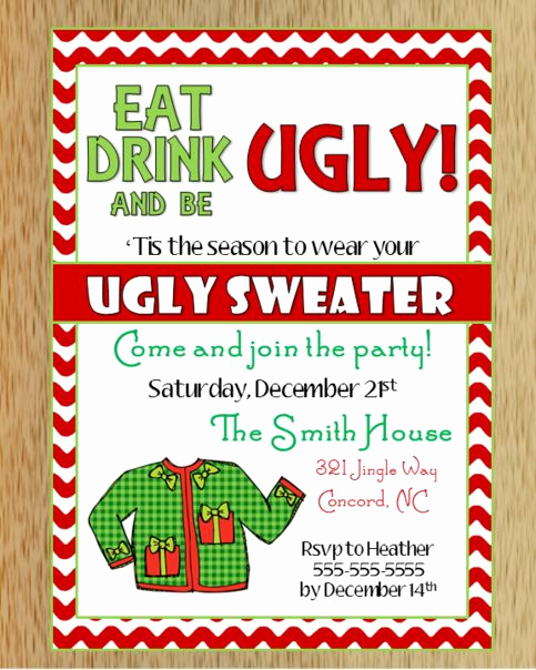 Ugly Sweater Invitation Ideas Luxury Ugly Christmas Sweater Invitation 2