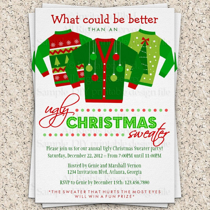 Ugly Sweater Invitation Ideas Luxury Ugly Christmas Sweater Party Invitation Ugly by Invitationblvd