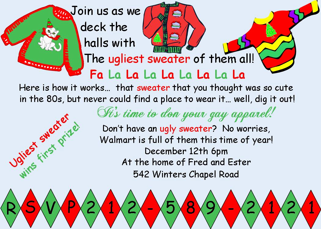 Ugly Sweater Invitation Ideas New Funny Christmas Invite Wording