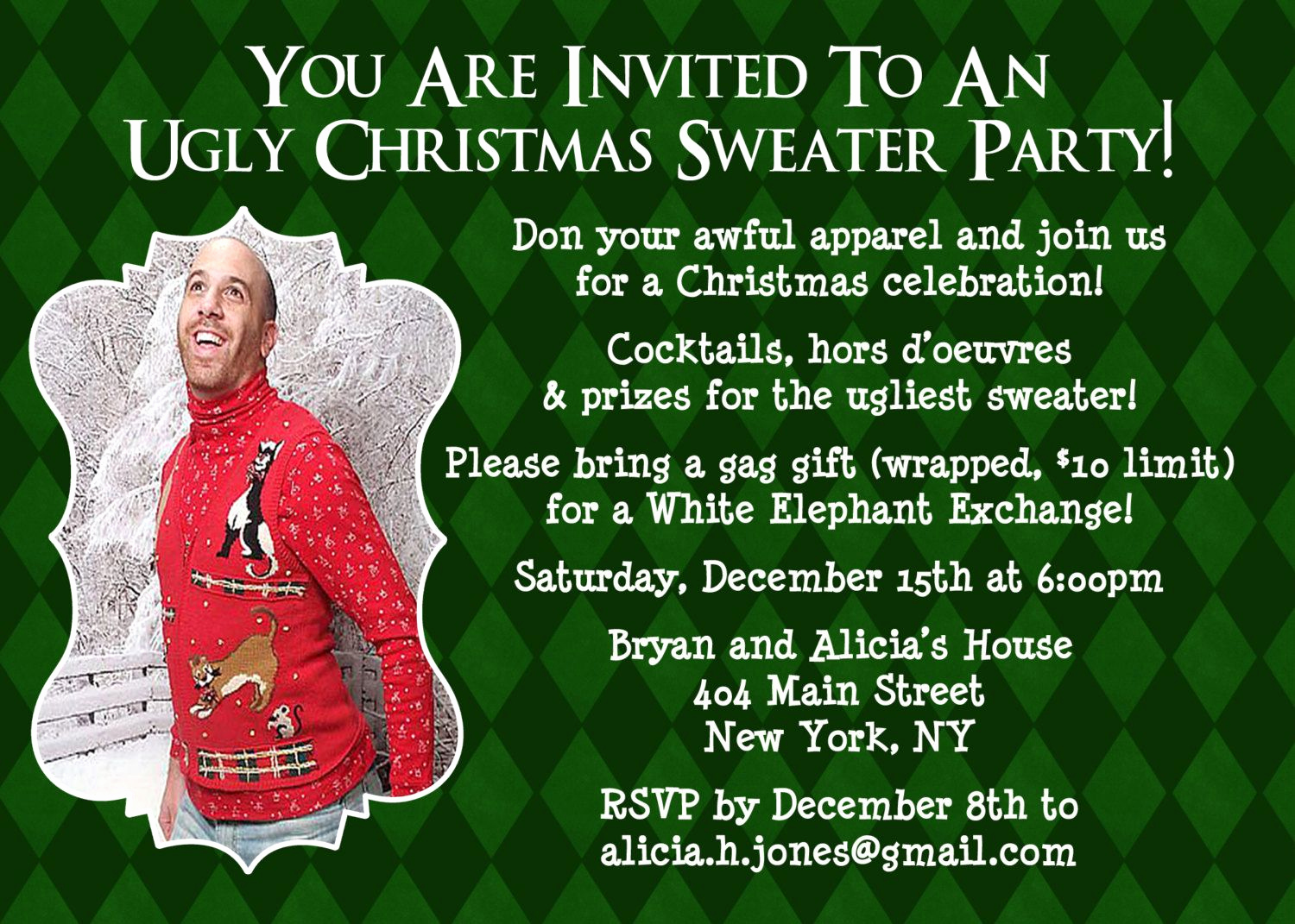 Ugly Sweater Invitation Ideas Unique Customized Christmas Party Invite Ugly Sweater Party