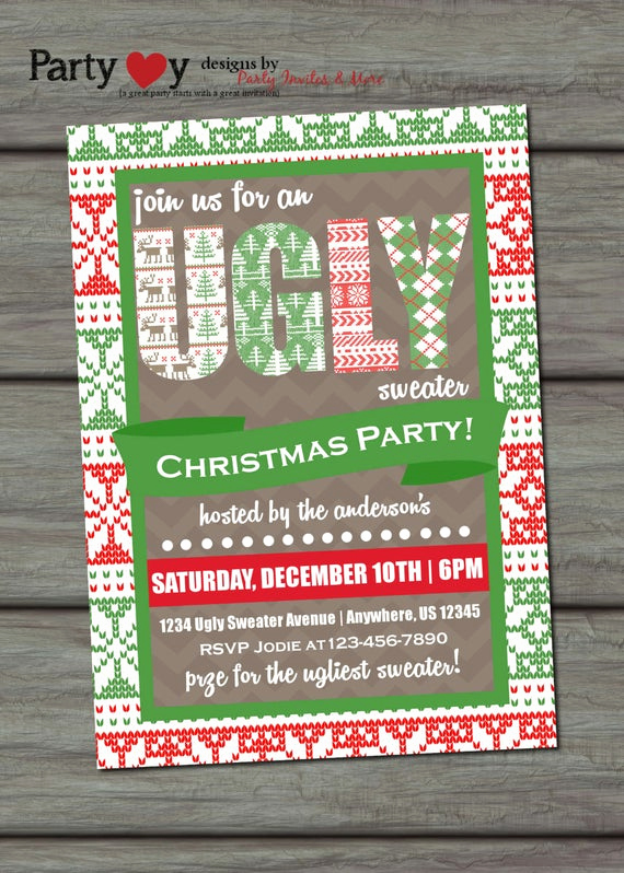 Ugly Sweater Invitation Ideas Unique Ugly Sweater Invitation Ugly Sweater by Partyinvitesandmore