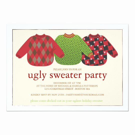 Ugly Sweater Invitation Template Beautiful Ugly Christmas Sweater Party Invitation