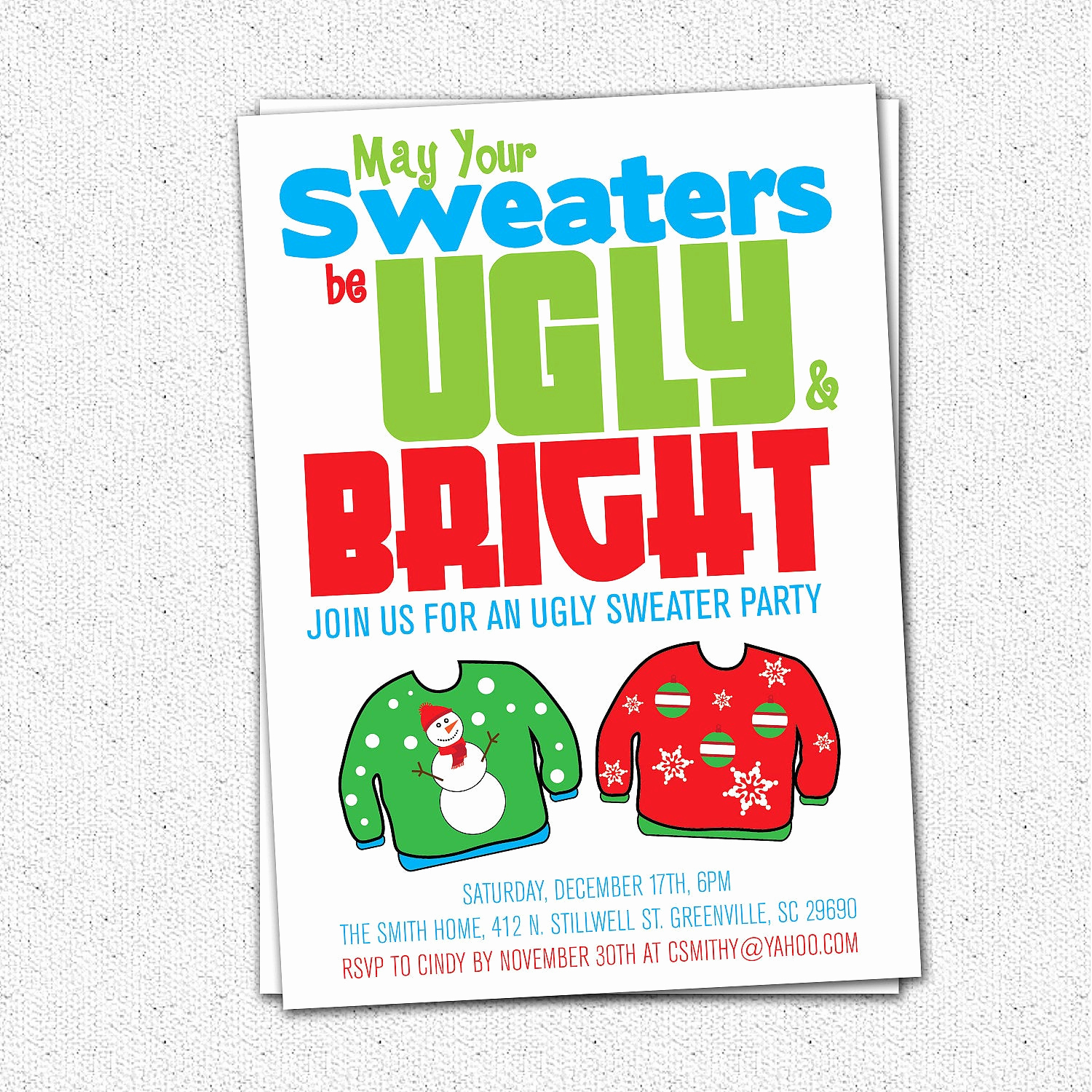 Ugly Sweater Invitation Template Best Of Ugly Sweater Party Invitation Tacky Holiday Christmas