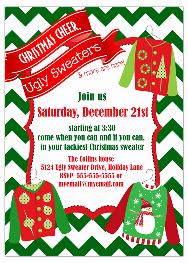 Ugly Sweater Invitation Template Free Awesome Ugly Sweater Chevron Holiday Party Invitation