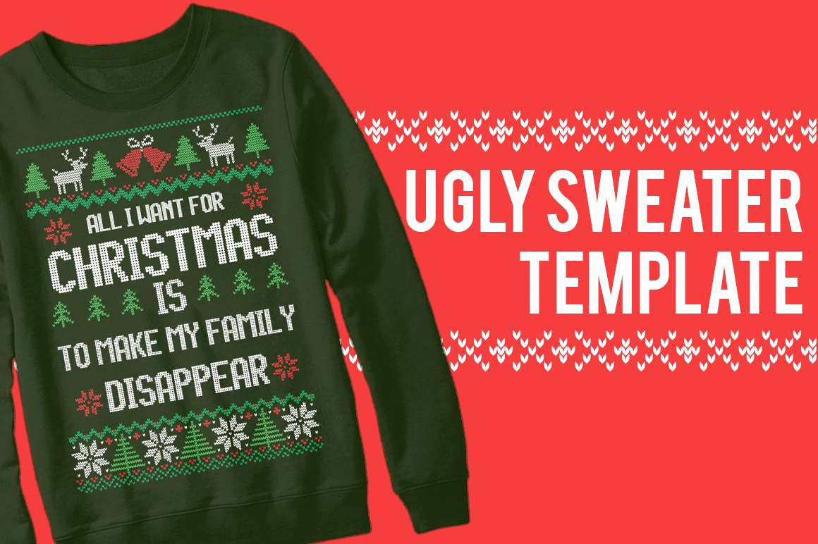 Ugly Sweater Invitation Template Free Beautiful Ugly Sweater Christmas Templates Templates Creative Market
